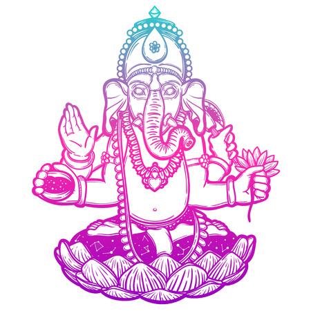 Vector illustration of Ganesha. Hindu god elephant Ganesha. Lineart.