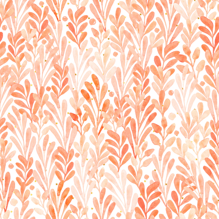 Watercolor seamless pattern summer foliage isolated on a white background. Watercolor illustration with flowers and golden stars. Reklamní fotografie