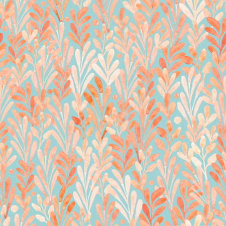 Watercolor seamless pattern summer foliage isolated on a white background. Watercolor illustration with flowers.