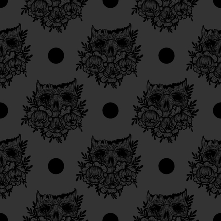 Vector seamless pattern with a human skull and flowers. Gothic brutal skull. For print t-shirts or book coloring. Vector Illustration