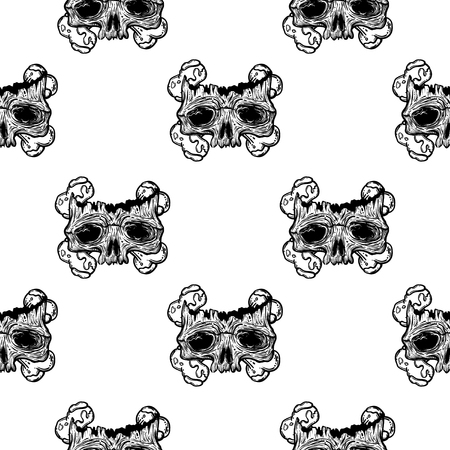 Vector seamless pattern with a human skull and bones. Gothic brutal skull. For print t-shirts or book coloring.