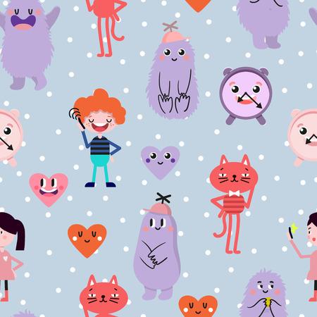 Cute cartoon. Funny monsters, heart, love, boy, girl. Vector seamless pattern.