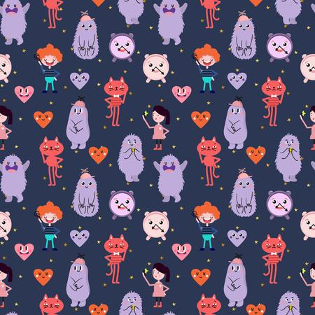 Cute cartoon. Funny monsters, heart, love, boy, girl, golden stars. Vector seamless pattern.