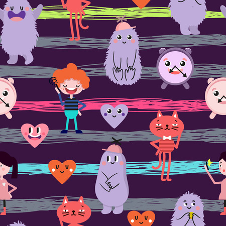 Cute cartoon. Funny monsters, heart, love, boy, girl. Vector seamless pattern.