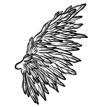 Illustrazione di arte di linea delle ali d'angelo. Scheda di vettore disegnato a mano. Schizzo per tatuaggio, design di t-shirt hipster, poster in stile vintage.