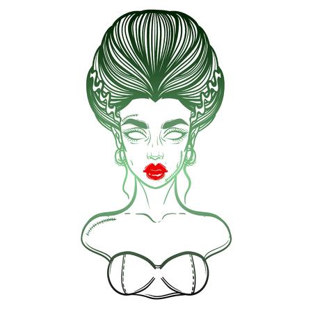 The bride of Frankenstein Girl Line Art. Hand drawn vector illustration. Girl in Halloween costumes Vetores