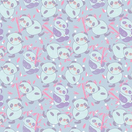 Seamless pattern with cute animal panda and bamboo