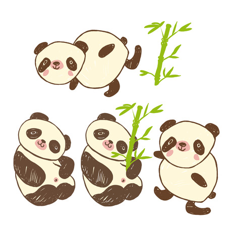 Cute icons with animal panda and bamboo