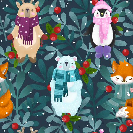 cute children illustration of a winter forest and animal deer, penguin, fox and bear. Christmas card.