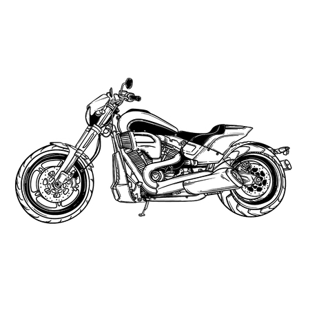 Vector isolated motor scooter icon. Motorcycle silhouette symbols.