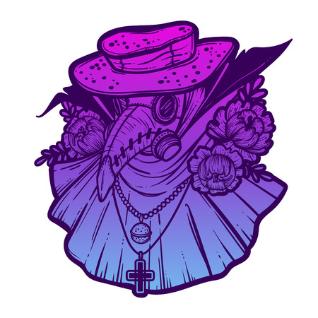 Vector art illustration with Plague Doctor. Poster Design. Tattoo style, lineart.