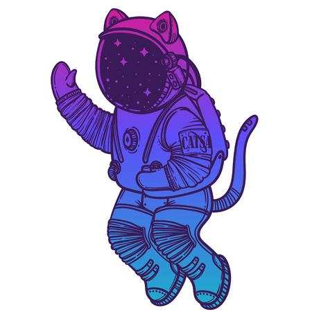 Illustration vectorielle. Astronaute chat planant dans l'espace. Illustration de style comique. Vecteurs