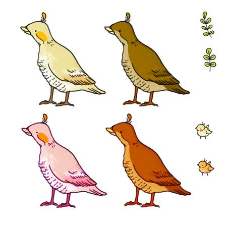 Cute icons with a bird. Farm ducks.