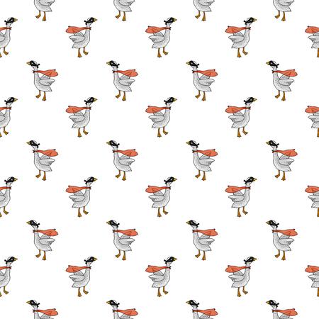 Seamless pattern with a bird. Farm super goose.