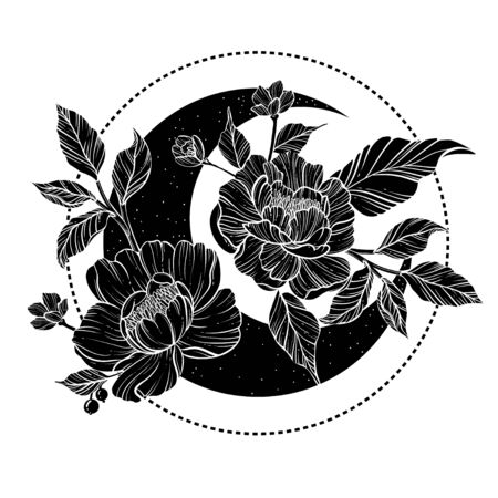 Moon with peony flowers. Beautiful illustration with moon and flowers.