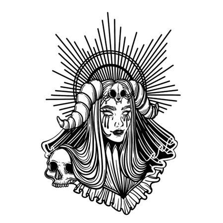 Holy bride. Devil girl with horns. Illusztráció