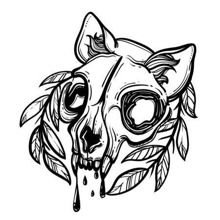 Cat skull. A wreath of leaves. Vector illustration in tattoo style.Gothic brutal skull. For print t-shirts or book coloring. Ilustrace