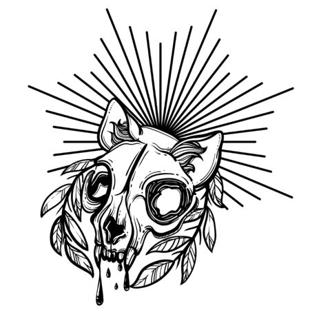 Cat skull. A wreath of leaves. Vector illustration in tattoo style.Gothic brutal skull. For print t-shirts or book coloring. Иллюстрация