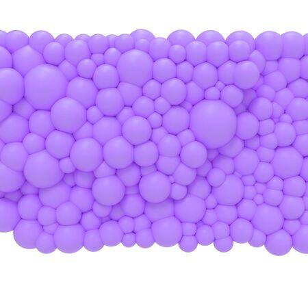 Bubble gum. 3d Violet bubbles. Background pattern.