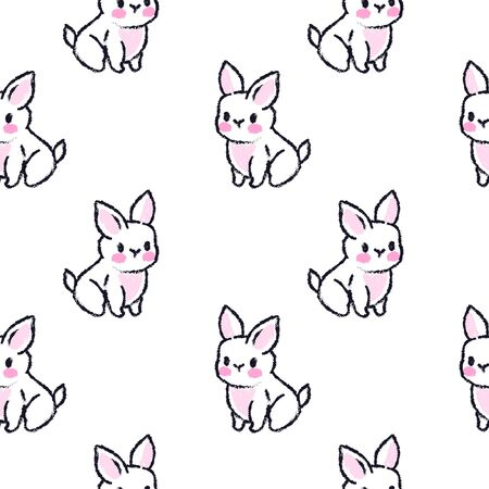 Cute seamless pattern with rabbits. Easter bunnies. Summer rabbits.
