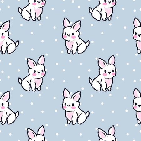 Cute seamless pattern with rabbits. Easter bunnies. Summer rabbits. Dots background.