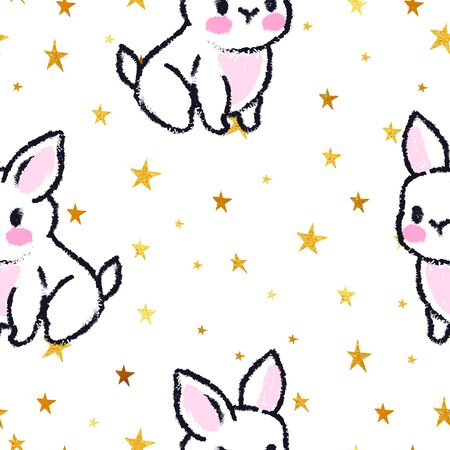 Cute seamless pattern with rabbits. Easter bunnies. Summer rabbits. Gold stars.