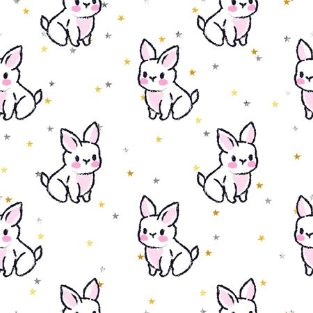 Cute seamless pattern with rabbits. Easter bunnies. Summer rabbits. Gold stars. Stockfoto - 137938495