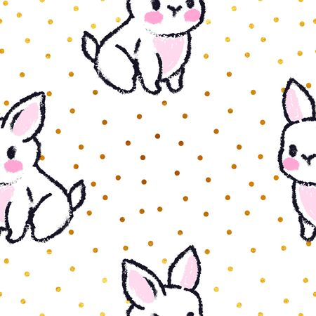 Cute seamless pattern with rabbits. Easter bunnies. Summer rabbits. Dots gold background.