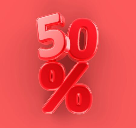50 percent Sale. Volumetric letters. Discount. Stockfoto
