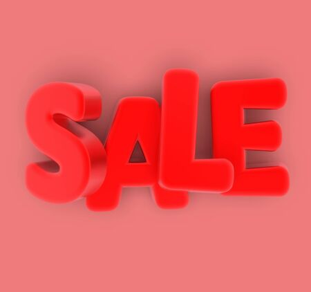 Sale. Volumetric red letters. Discount.