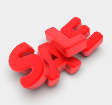 Sale. Volumetric red letters. Discount. Stockfoto - 137394831