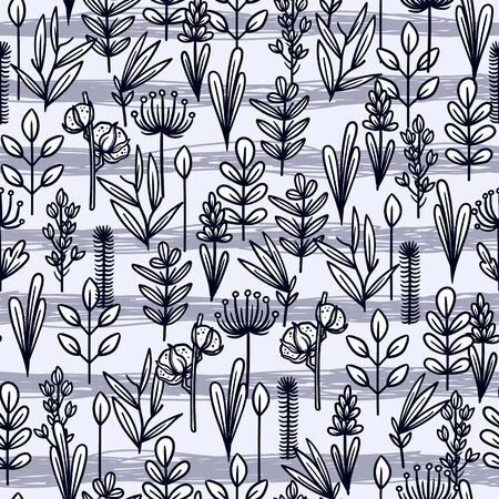 vintage vector seamless pattern with floral elements. summer flower and leaf elements. herbal pattern