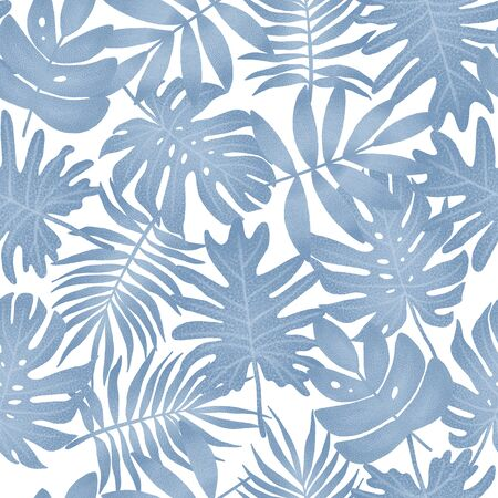 Summer exotic floral tropical palm leaves. Seamless pattern. Plant flower nature wallpaper