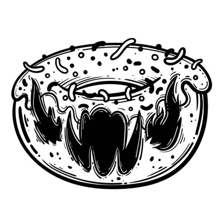 Funny monster for coloring book. Food monster. Vector illustration Stock Illustratie