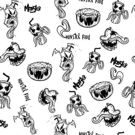 Funny monsters seamless pattern for coloring book. Food monsters. Vector illustration Ilustração