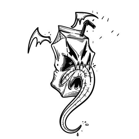 Funny monster for coloring book. Food monster. Vector illustration Ilustração