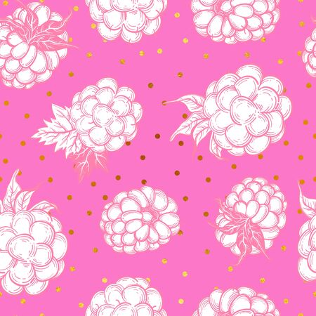 Sketch style vector eco food illustration. Hand drawn raspberry and blackberry seamless pattern on white background.