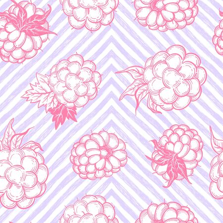 Sketch style vector eco food illustration. Hand drawn raspberry and blackberry seamless pattern on white background. Stockfoto - 144916141