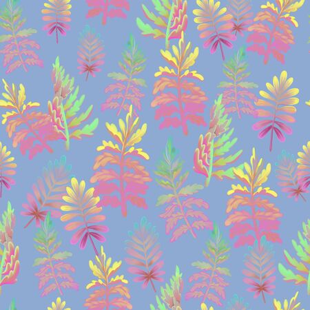 Seamless floral pattern with fern. Leaves and herbs. Botanical illustration.