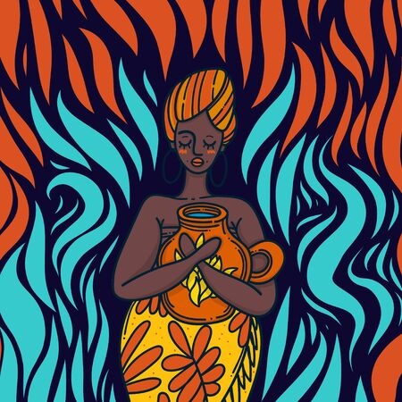 African woman in a bright dress on fire.