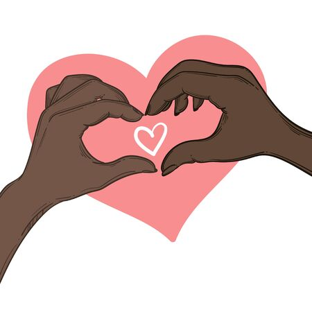 Vector illustration. Love concept represented by human hand and heart shape. Make love not war.