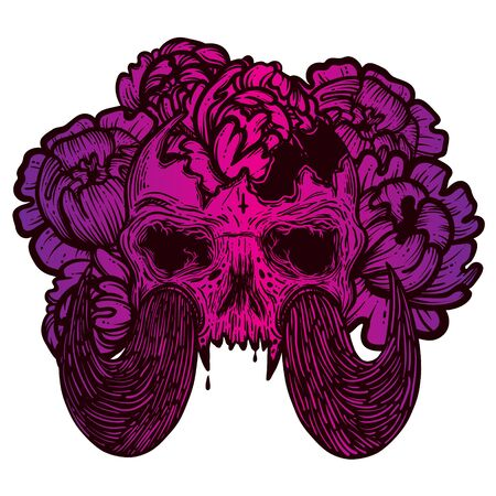 Vector illustration with a human skull with tusks and flowers. Gothic brutal skull. For print t-shirts or book coloring. Stockfoto - 149551168