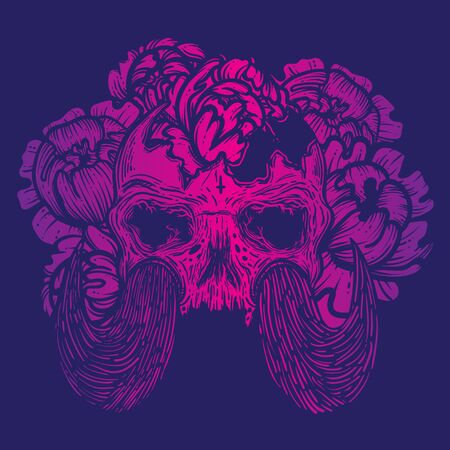 Vector illustration with a human skull with tusks and flowers. Gothic brutal skull. For print t-shirts or book coloring.