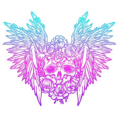 Vector print with a human skull,wings and flowers. Gothic brutal skull. Angel. For print t-shirts or book coloring. Stock Illustratie