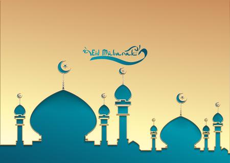 Islamic vector design Ramadan kareem greeting card template with arabic pattern - Translation of text : E id Mubarak - Blessed festival.elegant Greeting card template islamic vector design for muslim Banque d'images - 99149437