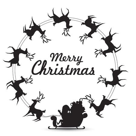 Weihnachtskranz Elemente mit Weihnachtsmann reitet Rentierschlitten, der sich dreht, um Rahmen für leeren Kopienraum für Text zu machen. Vektor-Silhouette-Design