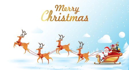 Frohe Weihnachten und ein glückliches neues Jahr. Der Weihnachtsmann fährt Rentierschlitten mit einem Sack voller Geschenke in der Weihnachtsschneeszene. Vektor-Illustration Grußkarte Poster horizontale Banner