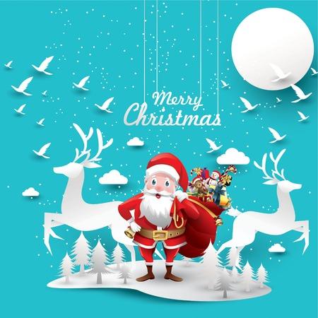 Frohe Weihnachten und ein glückliches neues Jahr. Das Rentier des Weihnachtsmannes mit einem Sack voller Geschenke in der Weihnachtsschneeszene. Vektor-Illustration Grußkarte Poster horizontale Banner Papierkunst Konzept