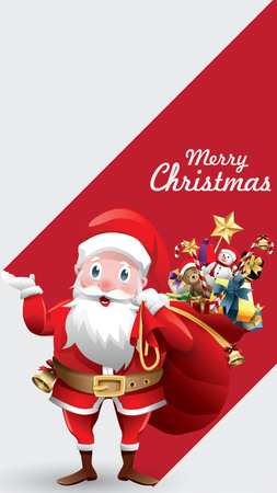 Merry christmas and happy new year red xmas cartoon Santa Claus with huge red bag with presents, red blank sign for copy space text, banner, poster, and invitation background