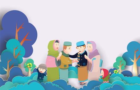 与家庭字符的Eid穆巴拉克传染媒介例证。贺卡,海报和横幅的传染媒介例证。
